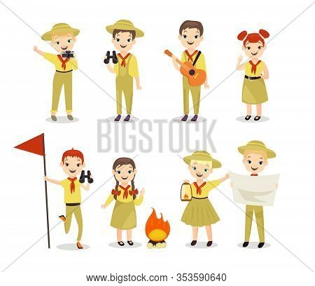 Scouts Flat Vector Illustrations Set. Children With Hiking Equipment, Summer Camp Activities. Campin