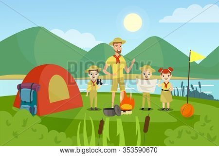 Scouts With Teacher Flat Vector Illustration. Camping, Outing, Summertime Activity, Recreation, Outs