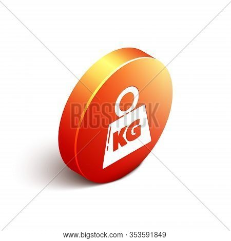 Isometric Weight Icon Isolated On White Background. Kilogram Weight Block For Weight Lifting And Sca