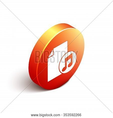 Isometric Music Book With Note Icon Isolated On White Background. Music Sheet With Note Stave. Noteb