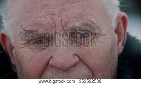 Elderly Grandfather - Old Grandfather With Sad Eyes Full Of Tears