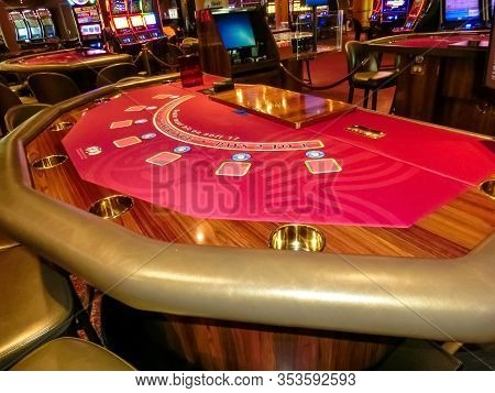 Half Moon Cay Island, Bahamas - December 4, 2019: Casino Interior, Gaming Slot Machines, American Ga