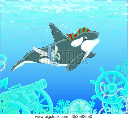 Killer Whale Swimming With A Pirate Bandana, A Saber And A Pistol Over Wreckage Of An Old Sunken Sai