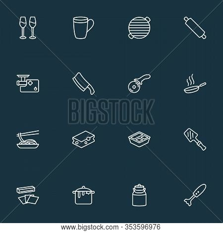 Gastronomy Icons Line Style Set With Meat Grinder, Bbq, Japanese Food And Other Barbecue Elements. I