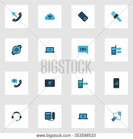 Communication Icons Colored Set With Web, Laptop Access Point, Cloud Access Point And Other Call Fro