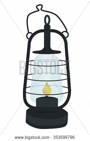 Vintage Oil Lantern Or Kerosene Lamp. Isolated On White Background. Retro Gas Lamp With Glowing Fire