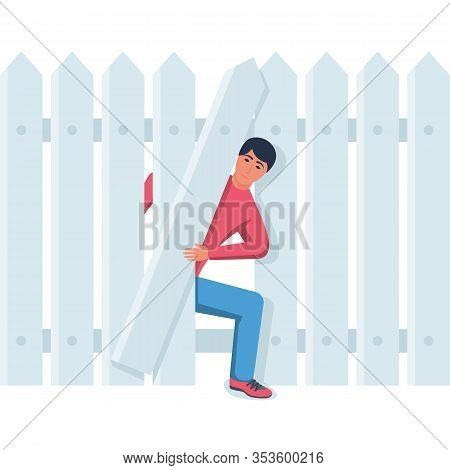 Curiosity Vector Illustration. A Man Looks Through A Hole In The Fence. Problem Solution And Secret