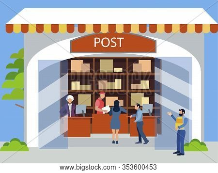 Postal Office. Receiving Postal Parcels, Shipments. In Minimalist Style. Cartoon Flat Raster
