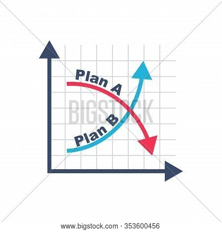 Plan A And Plan B On Financial Chart. Graph On Blackboard. Passes To Second Option. Vector Illustrat