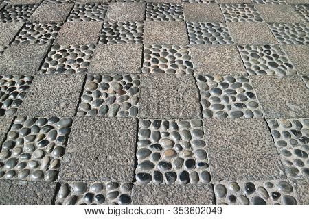 Unique Decorative Stone Floor Of The Old Town Courtyard In Arequipa, Peru