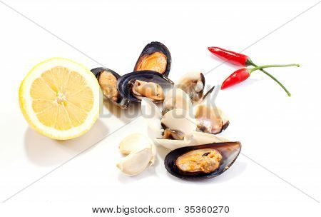 Mussels and clams whit lemon and red hot chili peppers on white background poster