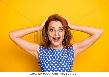 Close-up Portrait Of Her She Nice Attractive Lovely Charming Cheerful Cheery Wavy-haired Girl Incred