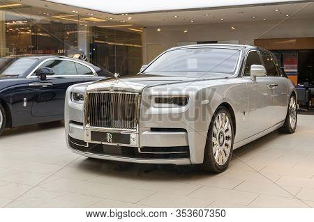 Bangkok, Thailand, January 5, 2020: Rolls Royce Executive Business Sedan Supercar, New At The Dealer