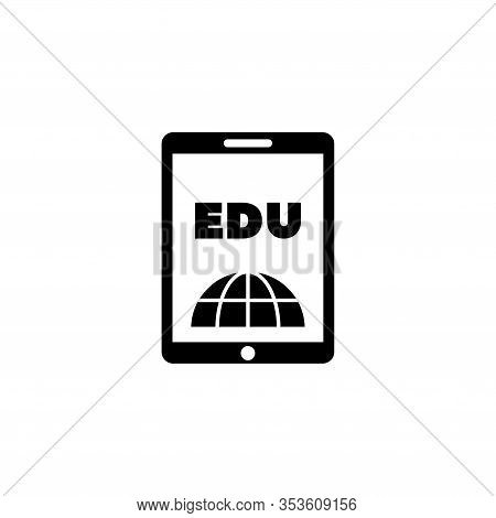 E-book Reader, Learning, Education. Flat Vector Icon Illustration. Simple Black Symbol On White Back