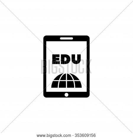 E-book Reader, Learning, Education. Flat Vector Icon Illustration. Simple Black Symbol On White Back