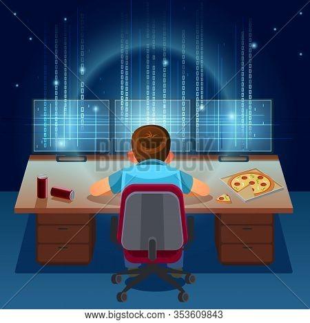 Hacker Working On A Code On Dark Digital Background With Digital Interface Around. Binary Computer C