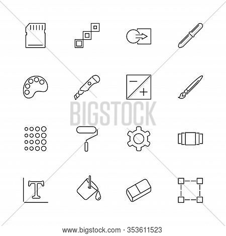 Image Setting, Photo Edit Outline Icons Set - Black Symbol On White Background. Image Setting, Photo
