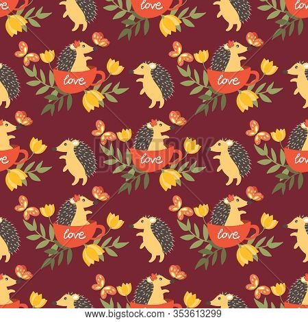 Cute Porcupine In A Cup With Love Text, Flower And Butterflies Seamless Pattern On Red Background. V