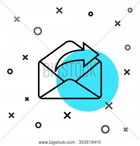 Black Line Outgoing Mail Icon Isolated On White Background. Envelope Symbol. Outgoing Message Sign.
