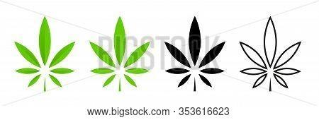 Cannabis Leafs Vector Isolated Icon. Vector Illustration. Cbd Cannabis Sign Hemp Oil. Marijuana Icon