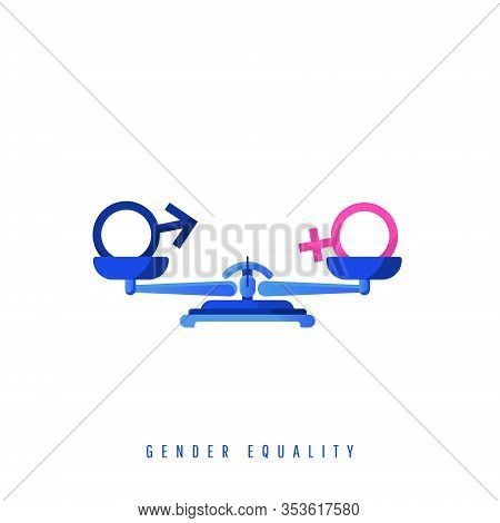 Gender Equality Concept. Gender Balancing Symbols On Metal Mechanical Scales Isolated On White Backg
