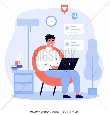Happy Guy Using Computer For Online Chat. Young Man With Laptop Sitting In Armchair At Home. Vector