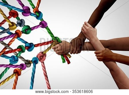 Concept Of Business Team As A Group Of Diverse People Pulling Together In Collaborative Support As A