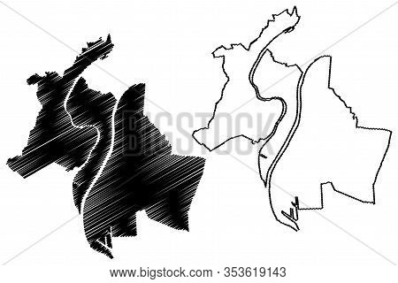 Lyon City (french Republic, France, Auvergne-rhone-alpes) Map Vector Illustration, Scribble Sketch C