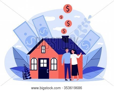 People Buying Property With Bank Credit. Savings Of Young Couple Falling Into House Chimney. Vector