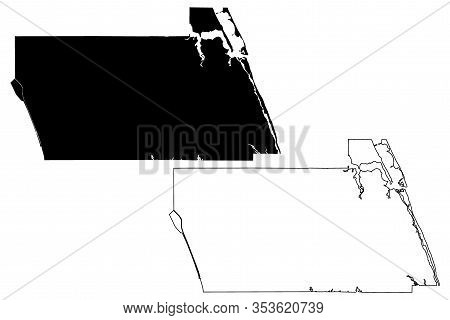 Martin County, Florida (u.s. County, United States Of America,usa, U.s., Us) Map Vector Illustration