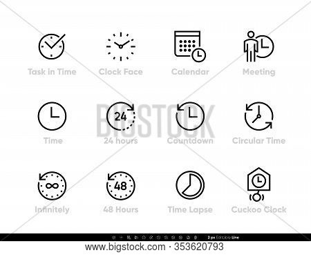 Task And Time Icons Set. Clock, Calendar, Meeting, 24 Hours, Time, 48h, Lapse Editable Line Vector I