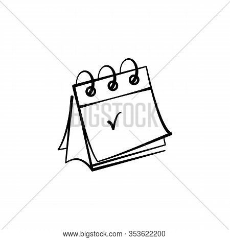 Vector Icon Of A Desk Calendar Hand-drawn. Vector Icon Black Line Isolated On White Background For D