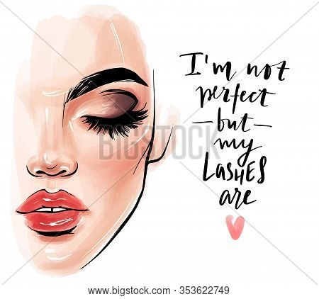 Vector Beautiful Woman Face. Girl Portrait With Long Black Lashes, Brows, Red Lips.