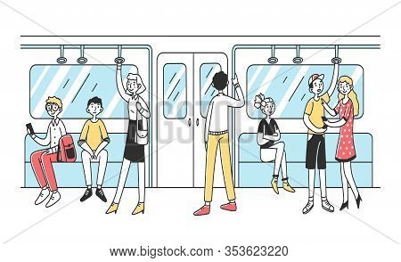 People Using Subway Flat Vector Illustration. Men And Women In Public Transport. City Dwellers In Me