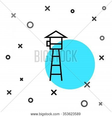 Black Line Watch Tower Icon Isolated On White Background. Prison Tower, Checkpoint, Protection Terri