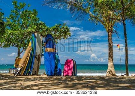 Surf boards on the beach in Kuta Bali Indonesia