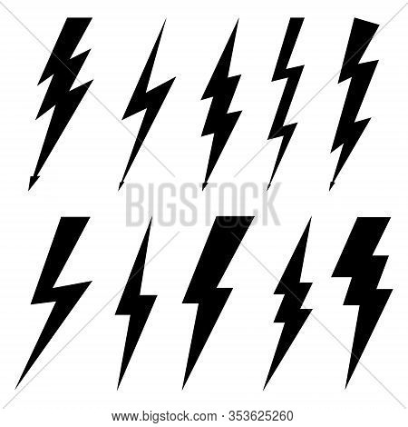 Thunderbolt Icons Isolated On White Background. Black Silhouettes In Flat Style. Lightning Bolt With