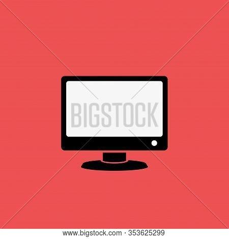 Vector Computer Monitor Icon Design. Flat Pc Screen Symbol