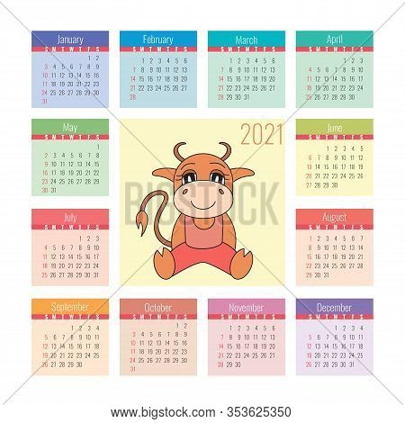 Calendar 2021. Ox Symbol Of The New Year. Vector Design Template. Chinese Horoscope. Colorful Englis