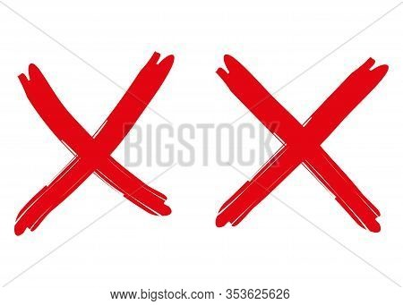 Two Red Crosses On White Background. Red Handwritten Mark X Made With Brush Strokes. Error Symbol, R