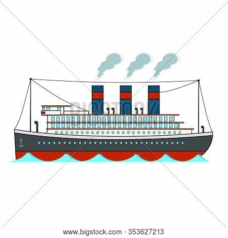 Retro Passenger Ocean Steamboat In Cartoon Style On A White Background.