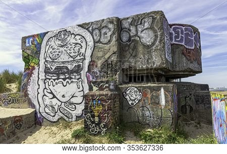 Dunkirk, France - June 2: Dunkirk Beaches Bunkers With Illegal Graffiti - Remains Of A Ww2 Nazi Coas