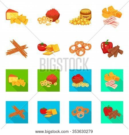 Vector Illustration Of Taste And Seasonin Sign. Set Of Taste And Organic Stock Symbol For Web.