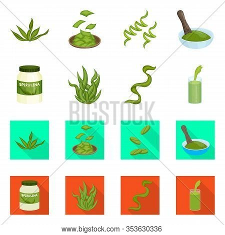 Isolated Object Of Protein And Sea Logo. Set Of Protein And Natural Vector Icon For Stock.