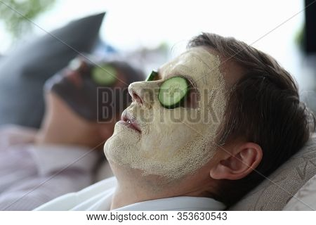 Men Made Clay Facial Cleansing Mask In Salon. Cleansing And Matting Masks For Male Skin Prone To Gre