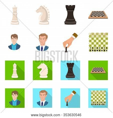 Vector Design Of Checkmate And Thin Icon. Set Of Checkmate And Target Stock Symbol For Web.