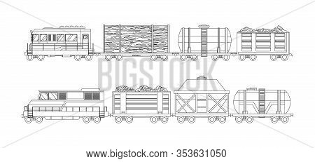 Freight Train Cargo Cars With Container And Box Freight Train. Rolling Stock Transport Illustration