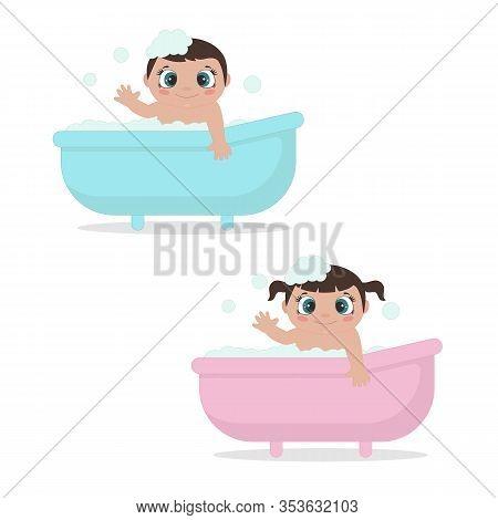 Baby In The Bath Tub. Vector Illustration.