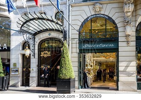 Paris/france - September 10, 2019 : The Guerlain Store And Marriott Luxury Hotel Entrance On Champs-