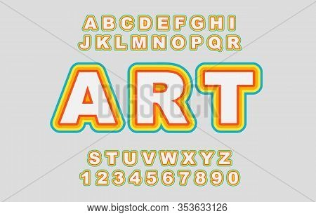 Rainbow Vector Of Stylized Vintage Font And Alphabet. 80 S Retro Alphabet Font.